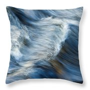 Flowing River Water Throw Pillow