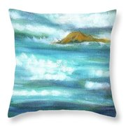 Flowing River With Briliant Sun Reflections And Stone, Closeup Painting Detail. Throw Pillow