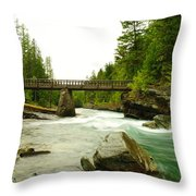 Flowing Under The Walkbridge Throw Pillow
