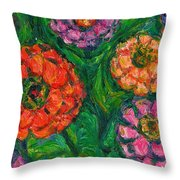 Flowing Zinnias Throw Pillow