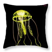 Flows Of Yellow Marine Life Throw Pillow