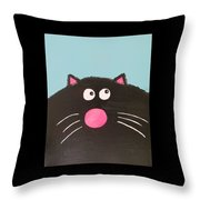 Fluffy Black Cat Throw Pillow