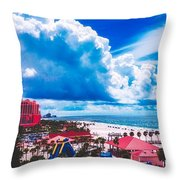 Fluffy Clouds Over Clearwater Beach Throw Pillow