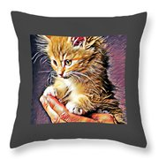 Fluffy Orange Kitten Throw Pillow