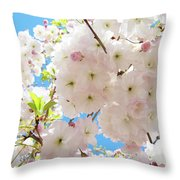 Fluffy White Pink Sunlit Tree Blossom Art Print Canvas Baslee Troutman Throw Pillow