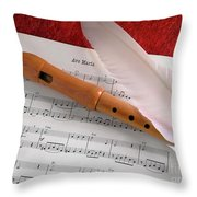 Flute And Feather Throw Pillow by Carlos Caetano