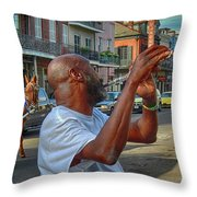 Flute Musician In New Orleans Throw Pillow