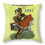 Fly B O A C To Caribbean Throw Pillow