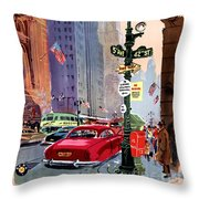 Fly Bcpa To America Vintage Poster Restored Throw Pillow