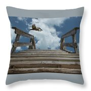 Fly By At The Beach - Brown Pelican And Rustic Stairs Throw Pillow