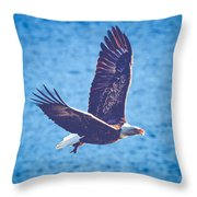 Fly By Eagle. 2 Of 3 Throw Pillow