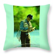 Fly Fisher II Throw Pillow