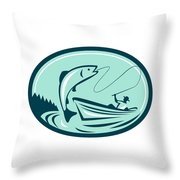 Fly Fisherman Boat Reeling Trout Retro Throw Pillow