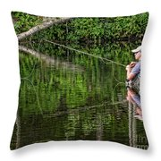 Fly Fisherman Throw Pillow