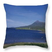 Fly Fishing  By Ardvreck Castle Loch Assynt Scotland Throw Pillow