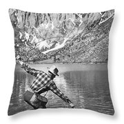 Fly Fishing In A Mountain Lake Throw Pillow