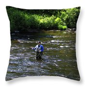 Fly Fishing In New York Throw Pillow