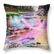 Fly Fishing In River At Sunrise Throw Pillow