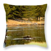 Fly Fishing On The Madison Throw Pillow