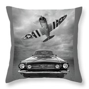 Fly Past - 1966 Mustang With P47 Thunderbolt In Black And White Throw Pillow