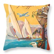 Fly To Australia And New Zealand, Airline Poster Throw Pillow