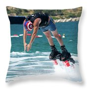 Flyboarder Bending Over To Dive Into Water Throw Pillow