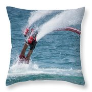 Flyboarder In Red Entering Water With Spray Throw Pillow