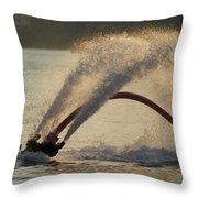 Flyboarder Only Showing Feet After Semi-circular Dive Throw Pillow