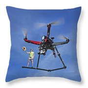 Flying A Drone Throw Pillow