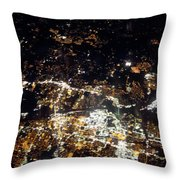 Flying At Night Over Cities Below Throw Pillow