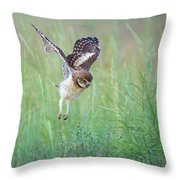 Flying Baby Burrowing Owl Throw Pillow