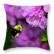 Flying Bee Collecting Pollen Throw Pillow