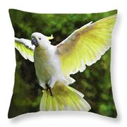 Flying Cockatoo  Throw Pillow