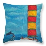 Flying Dolphin Throw Pillow