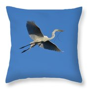Flying Egret  Throw Pillow