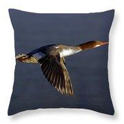 Flying Female Merganser - Odell Lake Oregon Throw Pillow