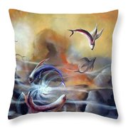 Flying Fishes Throw Pillow