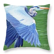 Flying Great Blue Heron Throw Pillow