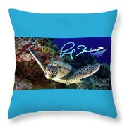 Flying Green Turtle With Logo Throw Pillow