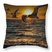 Flying Gulls At Sunset Throw Pillow