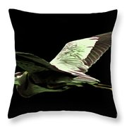 Flying Heron With Black Background Throw Pillow