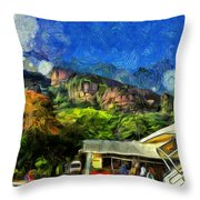 Flying Into Paradise Throw Pillow