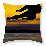 Flying Kick Over Muskegon Lake Throw Pillow