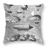 Flying Machines, 1856 Throw Pillow