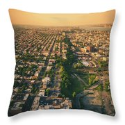 Flying Over Jersey City Throw Pillow