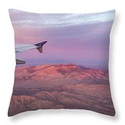 Flying Over The Mojave Desert At Sunrise Throw Pillow