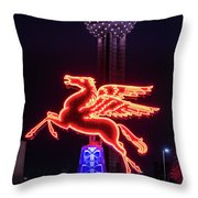 Flying Pegasus And Reunion Tower Night Throw Pillow
