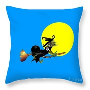 Flying Pentacle Witch Throw Pillow