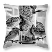 Flying Piglets Bw Throw Pillow
