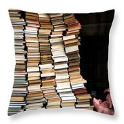 Flying Pigs And Books Throw Pillow